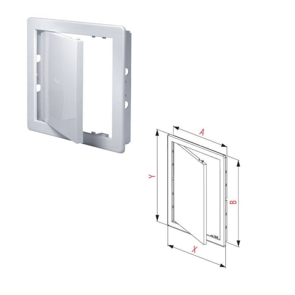 White Access Panel Inspection Hatch ABS Plastic Revision Door 150mm x 150mm (6 x 6