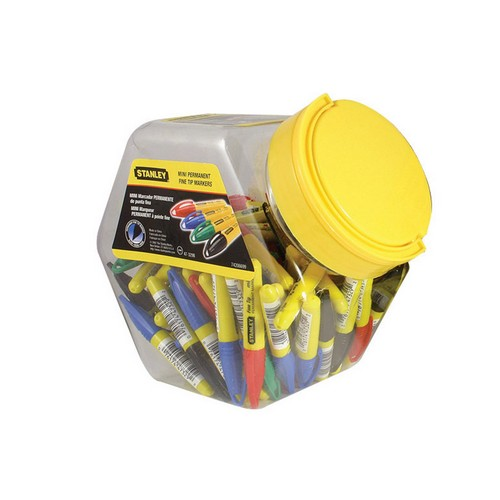 Stanley Tools 1-47-329 Mini Fine Tip Marker, Mixed Colours (Tub 72)