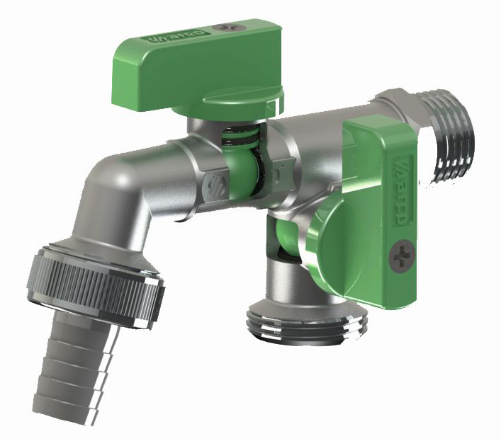 1/2x3/4x3/4 Inch Double Duo Outlet Garden Outside Outdoor Bib Tap Valve