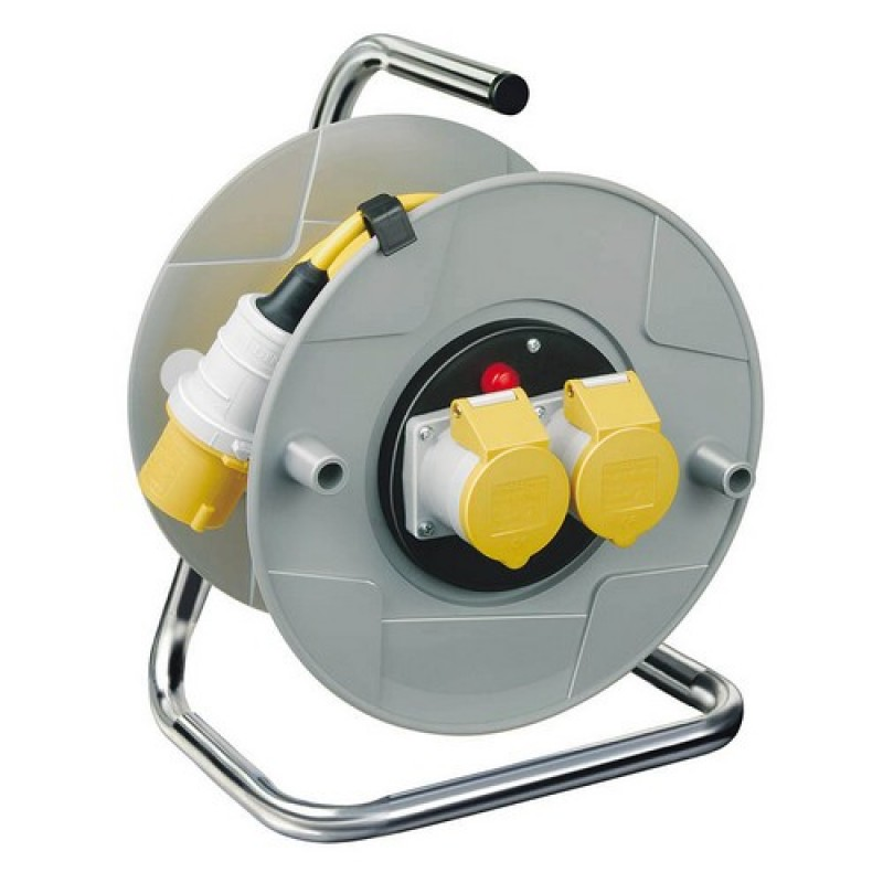 Brennenstuhl 1098783 Extension Cable Reel 50 Metre 110V 16 Amp 2 Socket With Cut Out
