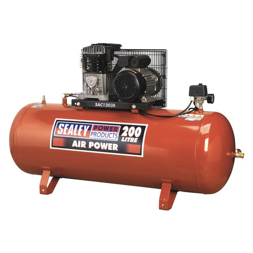 Sealey SAC1203B 200ltr Belt Drive Compressor 3hp With Cast Cylinders