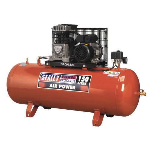 Sealey SAC0152B 150ltr Belt Drive Compressor 2hp With Cast Cylinders