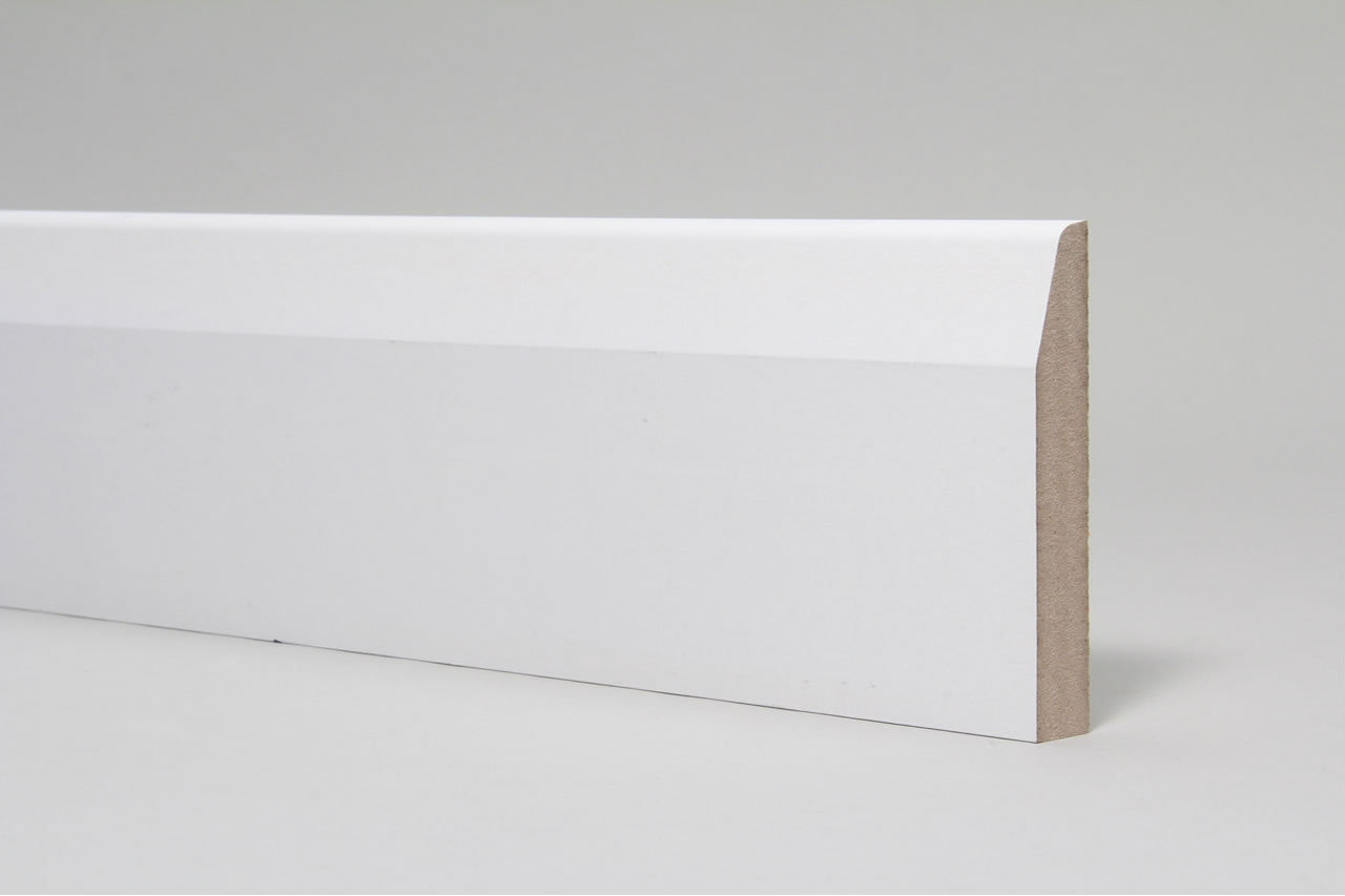 White Pre-Primed 144x18x4400mm MDF Chamfered Skirting Board