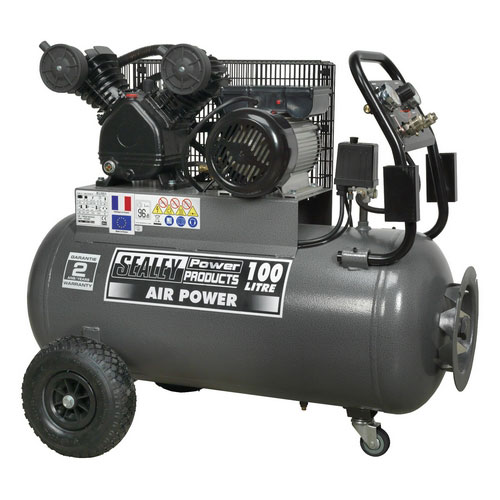 Sealey SAC3103B 100ltr Belt Drive Compressor 3hp With Front Control Panel