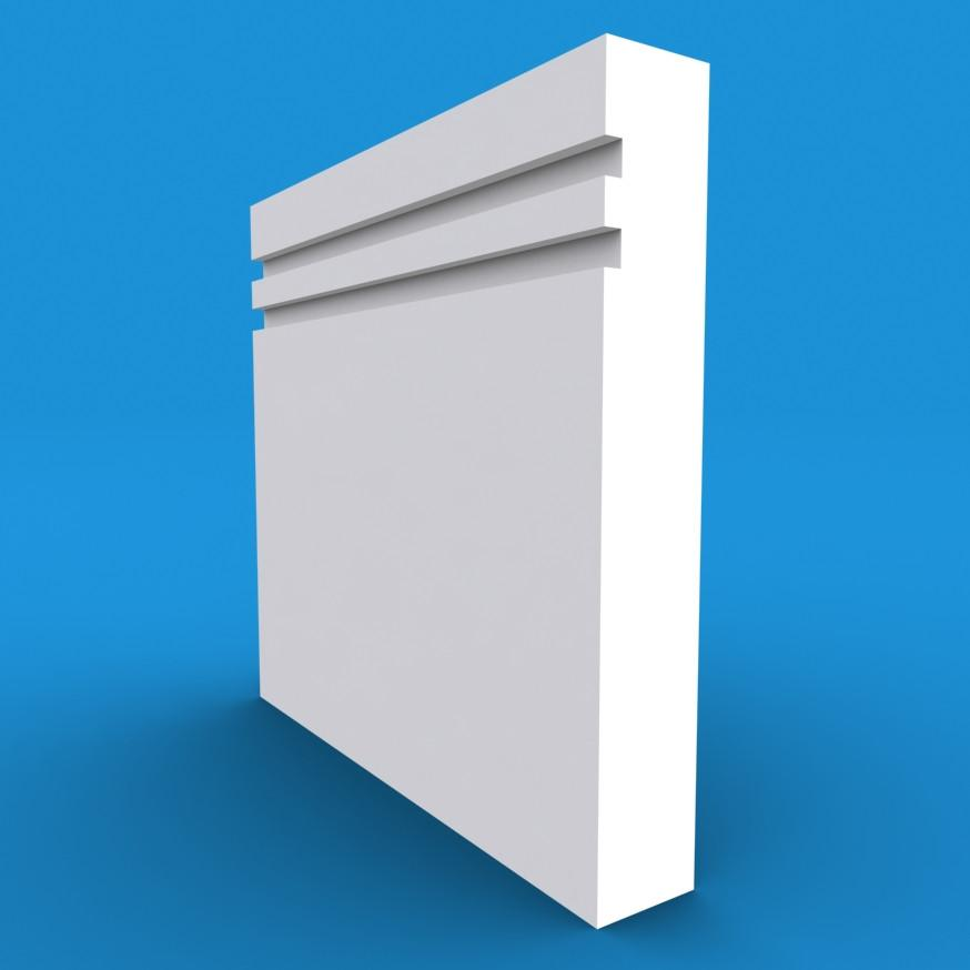 Square Edge Grooved 2 MDF White Primed Skirting Board 4200mm x 220mm x 18mm