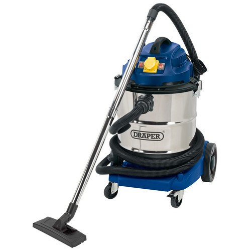 Draper 75443 50L 110V Wet And Dry Vacuum Cleaner With Stainless Steel Tank And 110V Power Tool Socket (1500W)