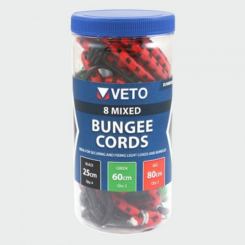Veto BUNMIX8 8 Pcs Mixed Set Bungee Cord Pack Of 8