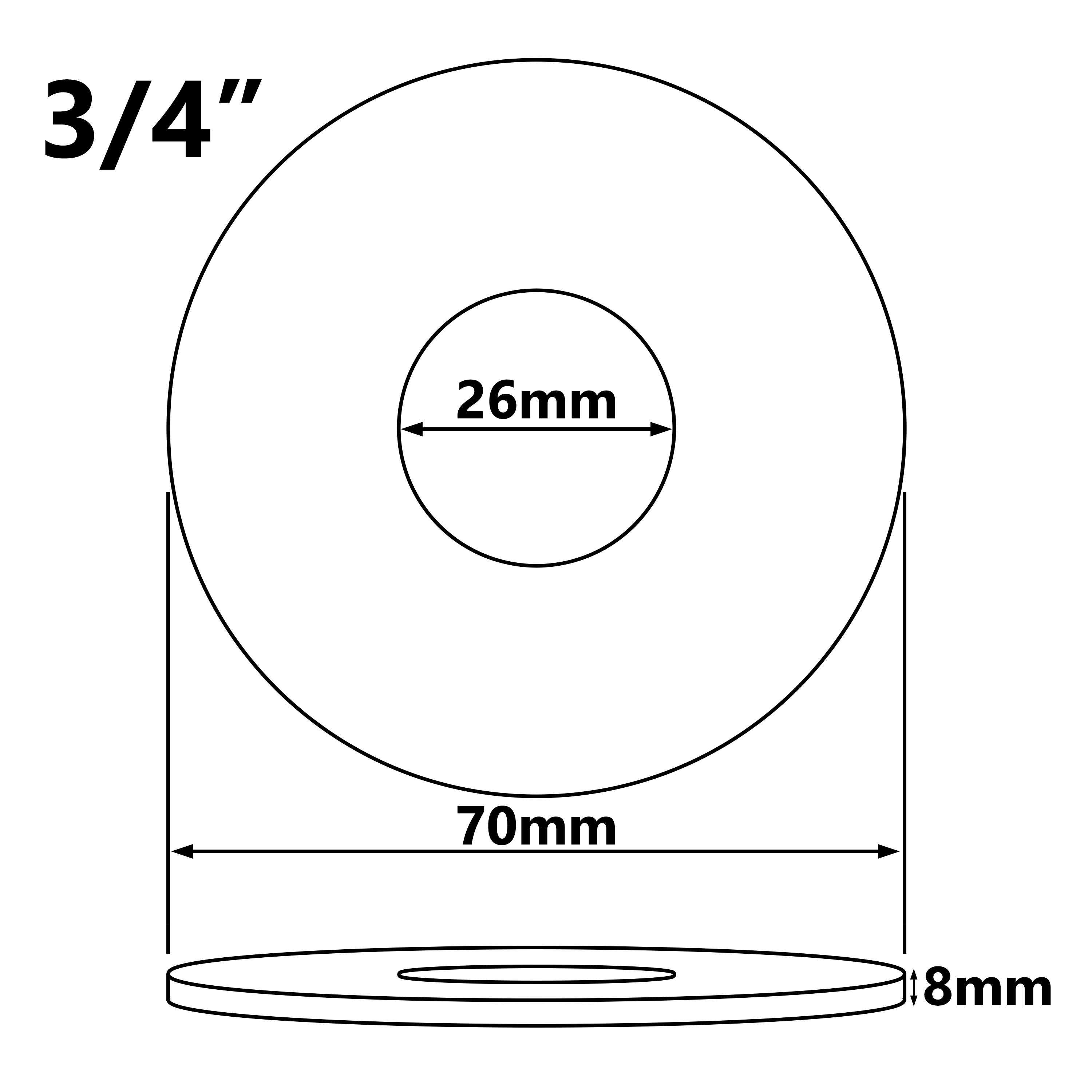 26mm (3/4 Inch) Collar Chrome Plated Steel Valve Tall Hole Cover Tap Rose 8mm Height