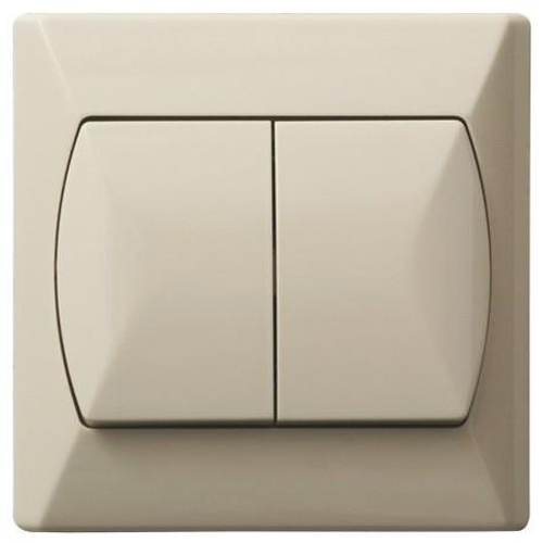 Simple Double Big Buttons Basic Indoor Light Switch Click Wall Plate Beige