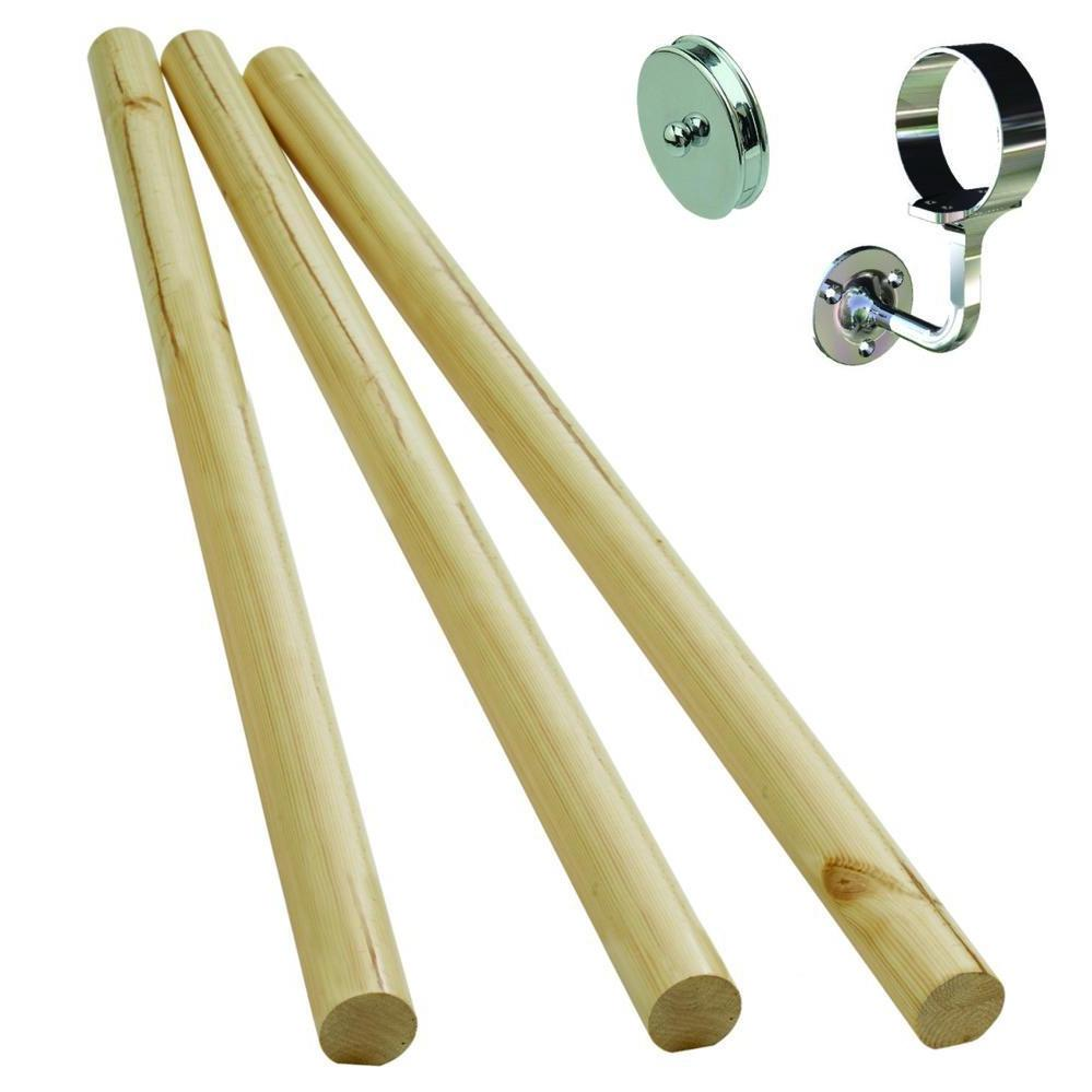 Stair Handrail Kit Pine with Chrome Finish Fittings KIT05