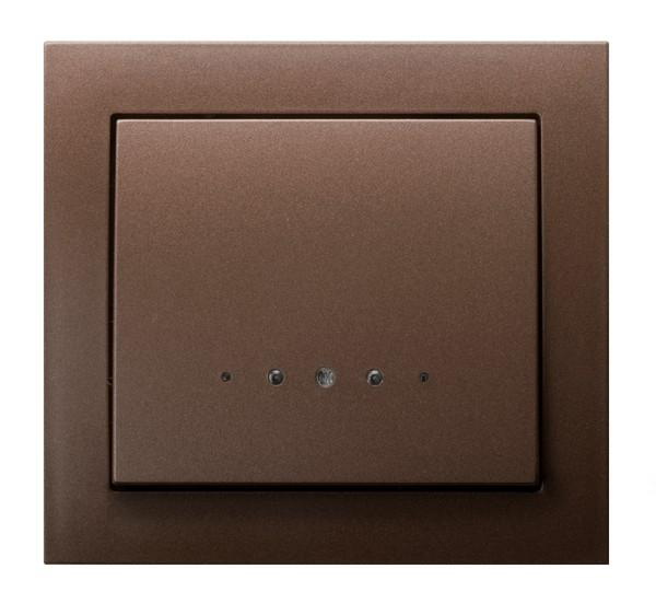 Metallic Brown with Light Single Button Indoor Light Switch Click Wall Plate