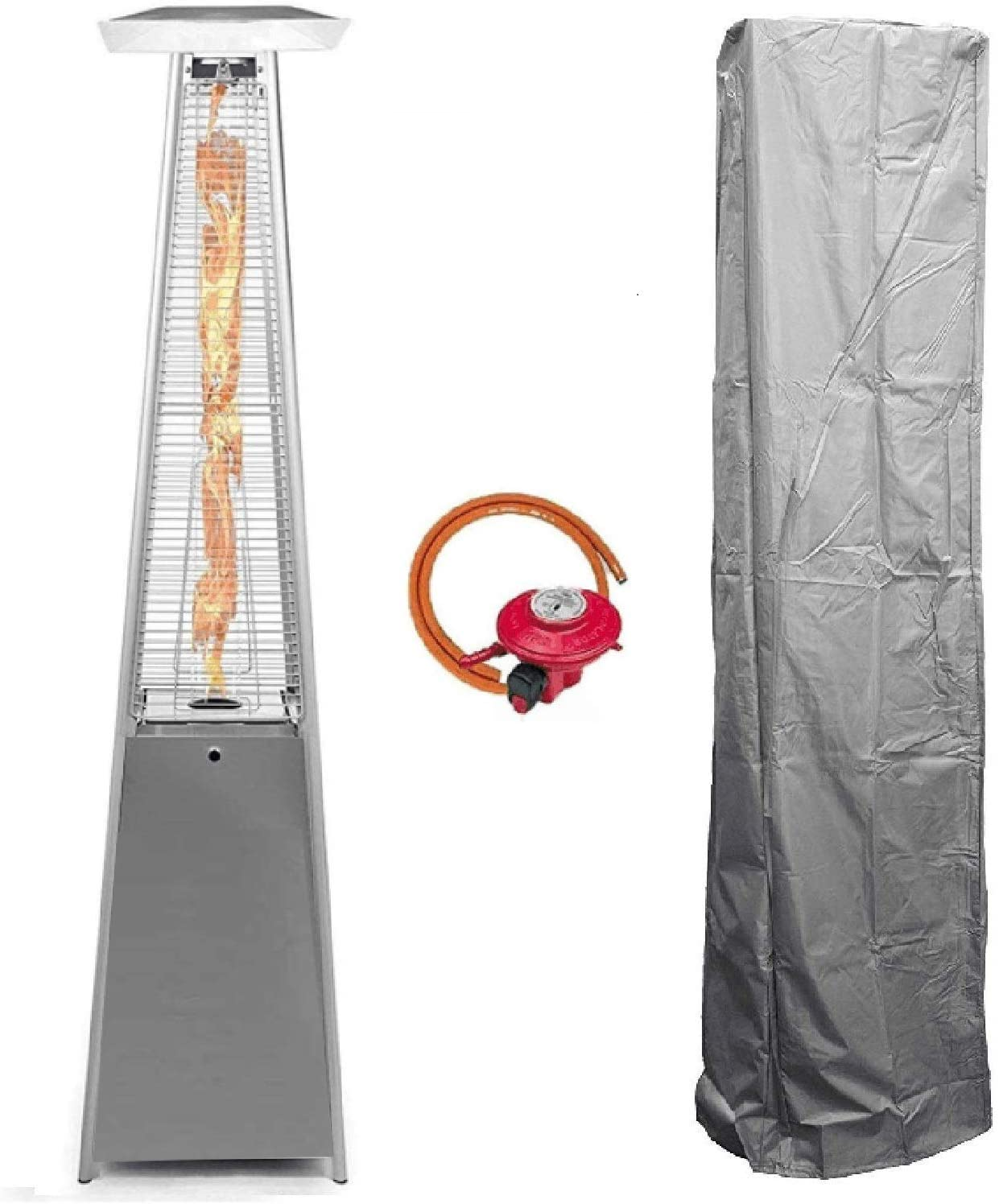 BU-KO Outdoor Patio Gas Heater LPG Warm Heating Fire & Water Proof Cover Included