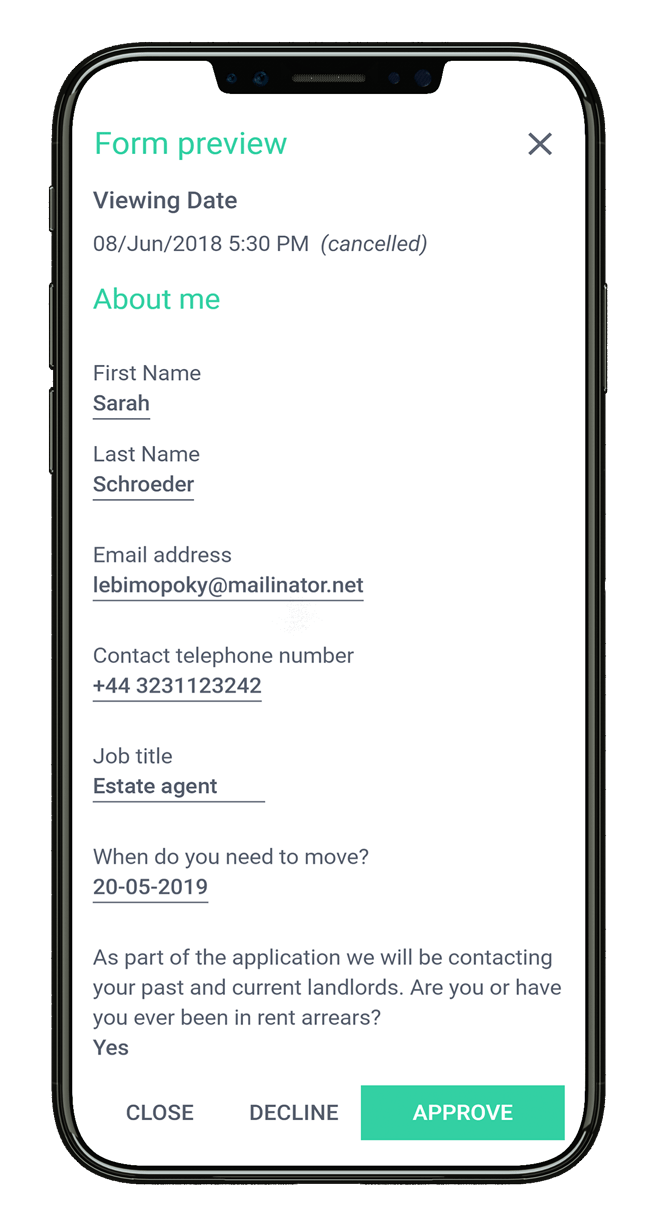 Go Tenant! Form preview screen