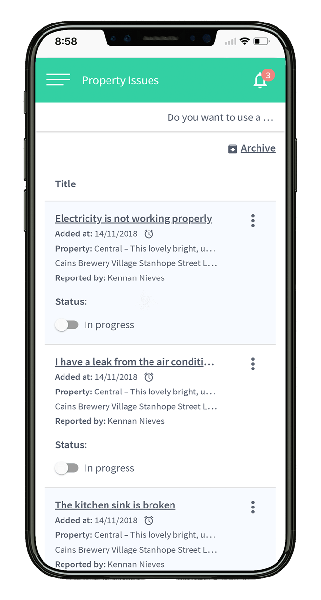 Go Tenant! Property issues preview screen