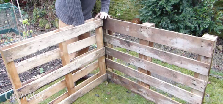 Assembling a compost bin made from pallets