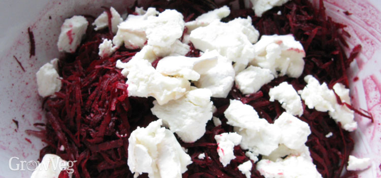 Beetroot and feta cheese fritter mixture