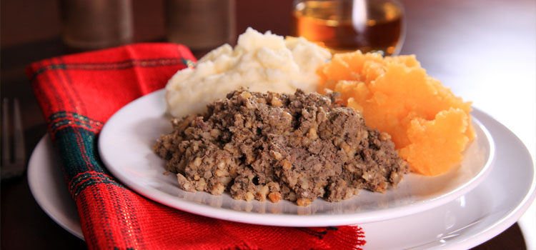 A Burns supper with haggis, neeps and tatties