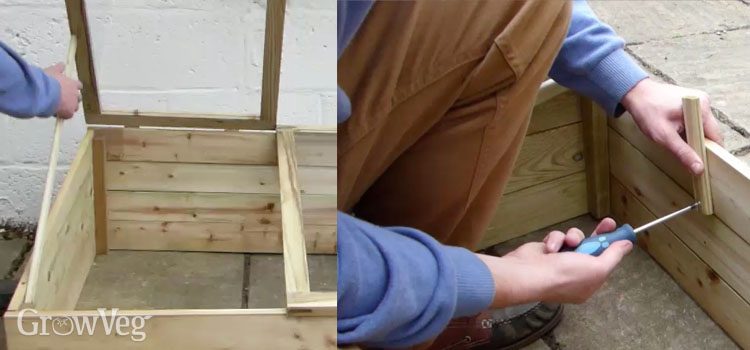 Lid supports allow you to vent your cold frame