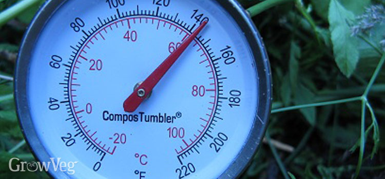 A high temperature in the compost tumbler