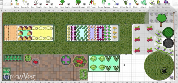 Garden layout using the Garden Planner