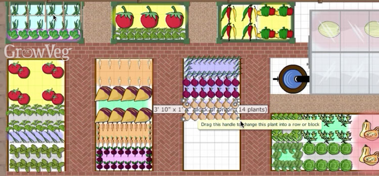Adding plants in the GrowVeg Garden Planner