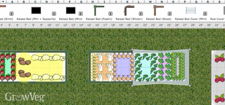 Using mini raised bed covers in the GrowVeg Garden Planner
