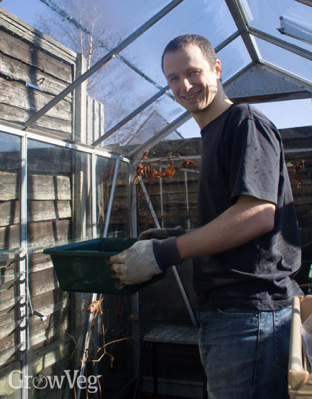 Jeremy in his greenhouse