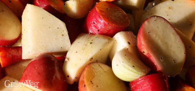 Root vegetables and garlic for roasting