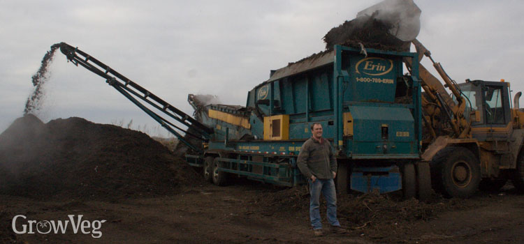 The huge industrial shredder used at The Compost Shop to crush recycled green waste