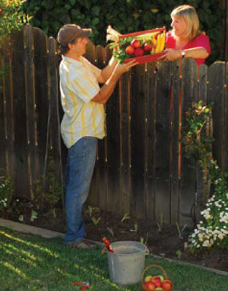Sharing vegetable garden produce