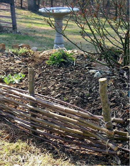 Willow and hazel stick hurdles for the vegetable garden