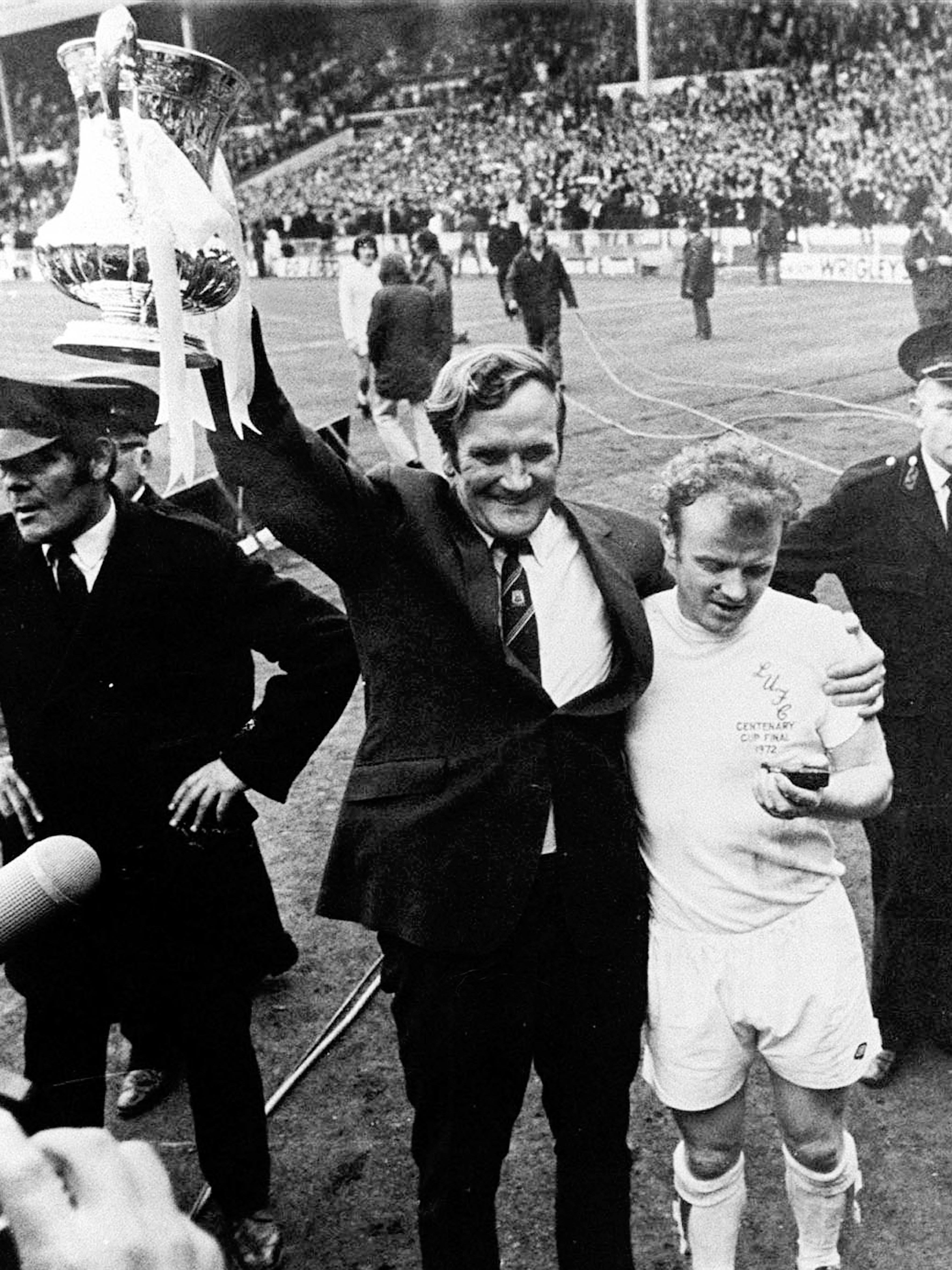 Don Revie manager of Leeds United holding aloft the FA Cup in 1972