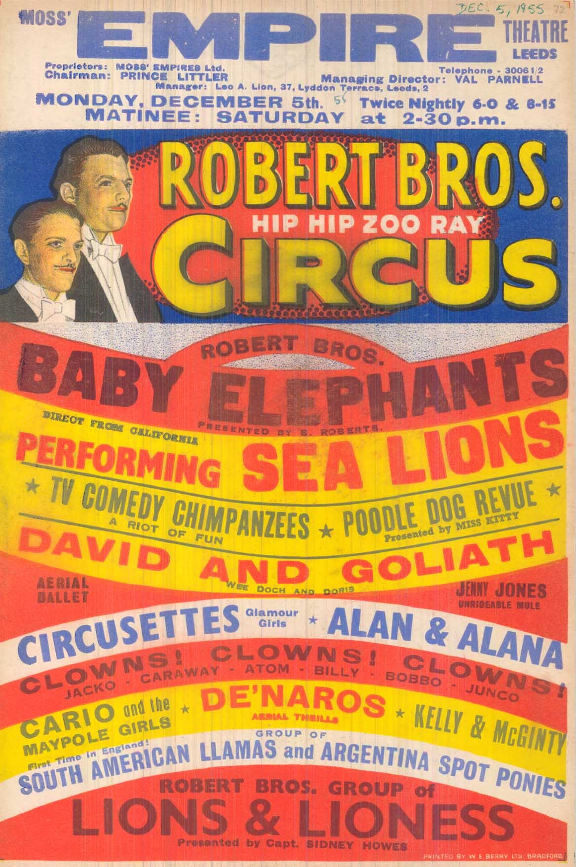 Colourful poster in curved stripes of red, yellow, blue and white advertising the circus.  On the left is a drawing of the Roberts Brothers in suits and with moustaches.