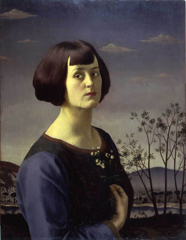 Realistic portrait painting of a young woman looking out next to a tree by Gerald Brockhurst