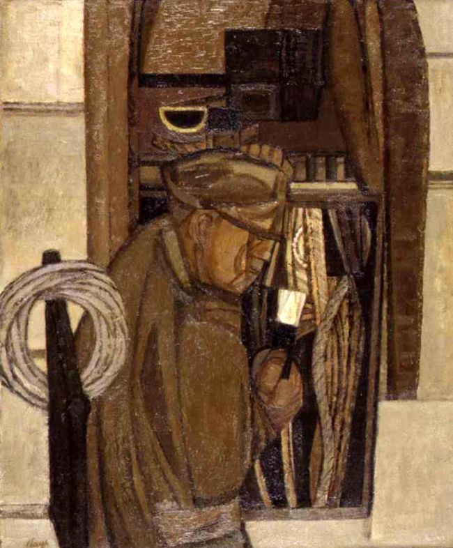 Side view of a male telephone engineer with rope and tools on brown background by Prunella Clough