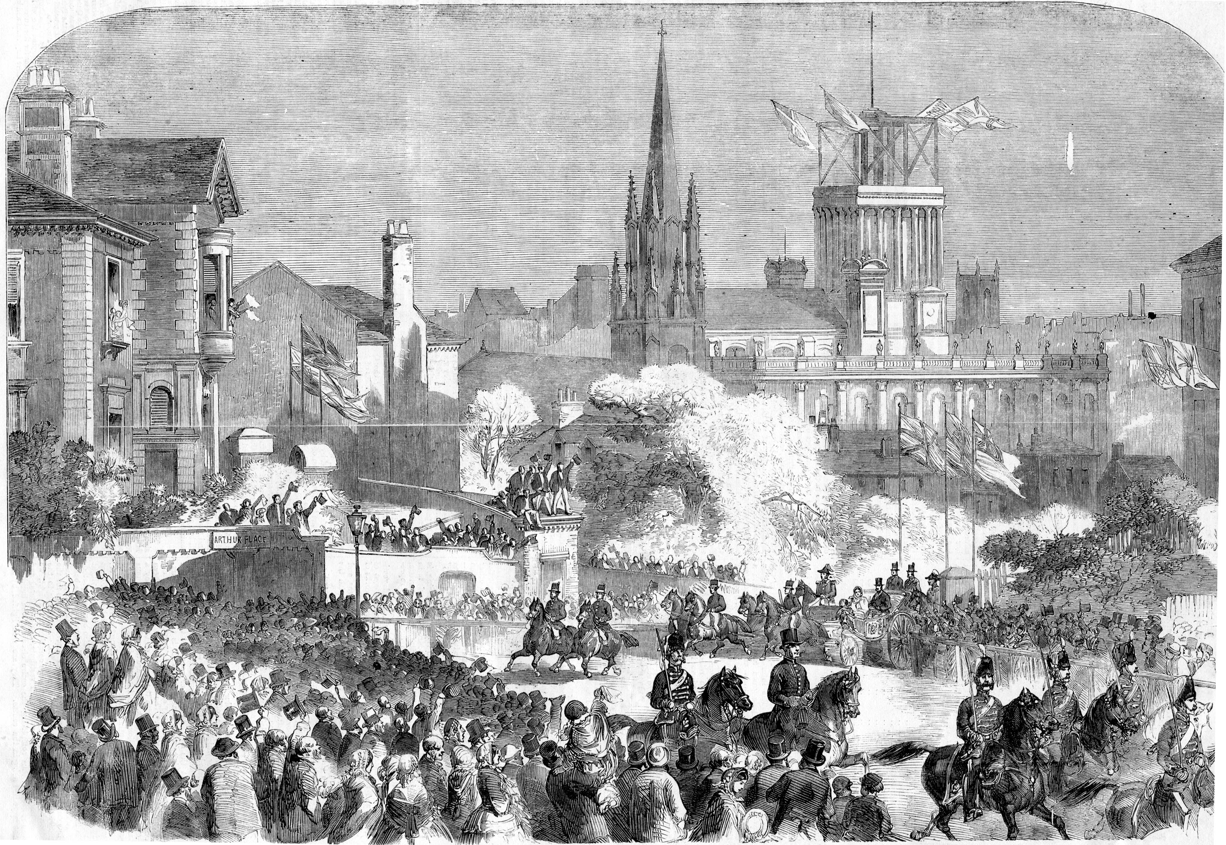Black and white illustration showing the Queen and her large entourage in the streets.  Leeds Minster can be seen in the background