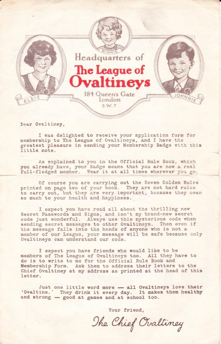 Ovaltineys Membership Letter