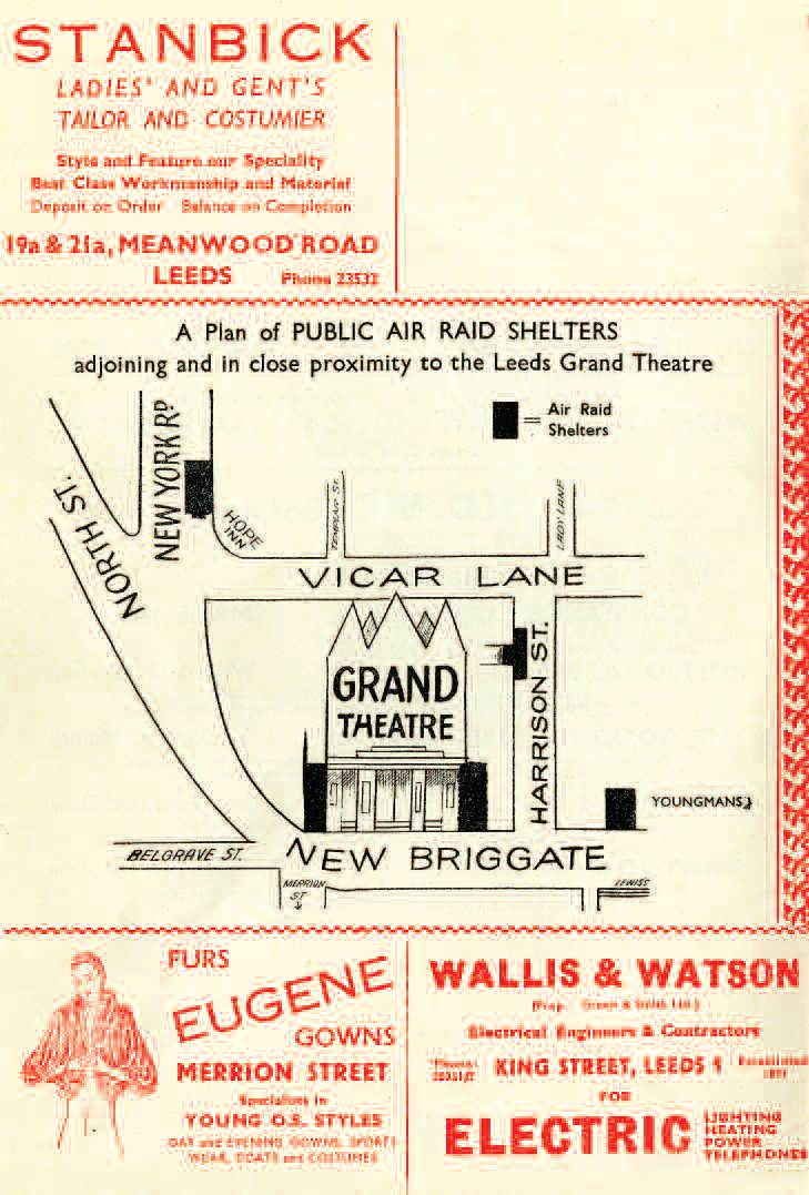 Programme showing location of air raid shelters in the cellars of the Grand Theatre.  There were also shelters on New York Road, one on New Briggate and one on Harison Street.