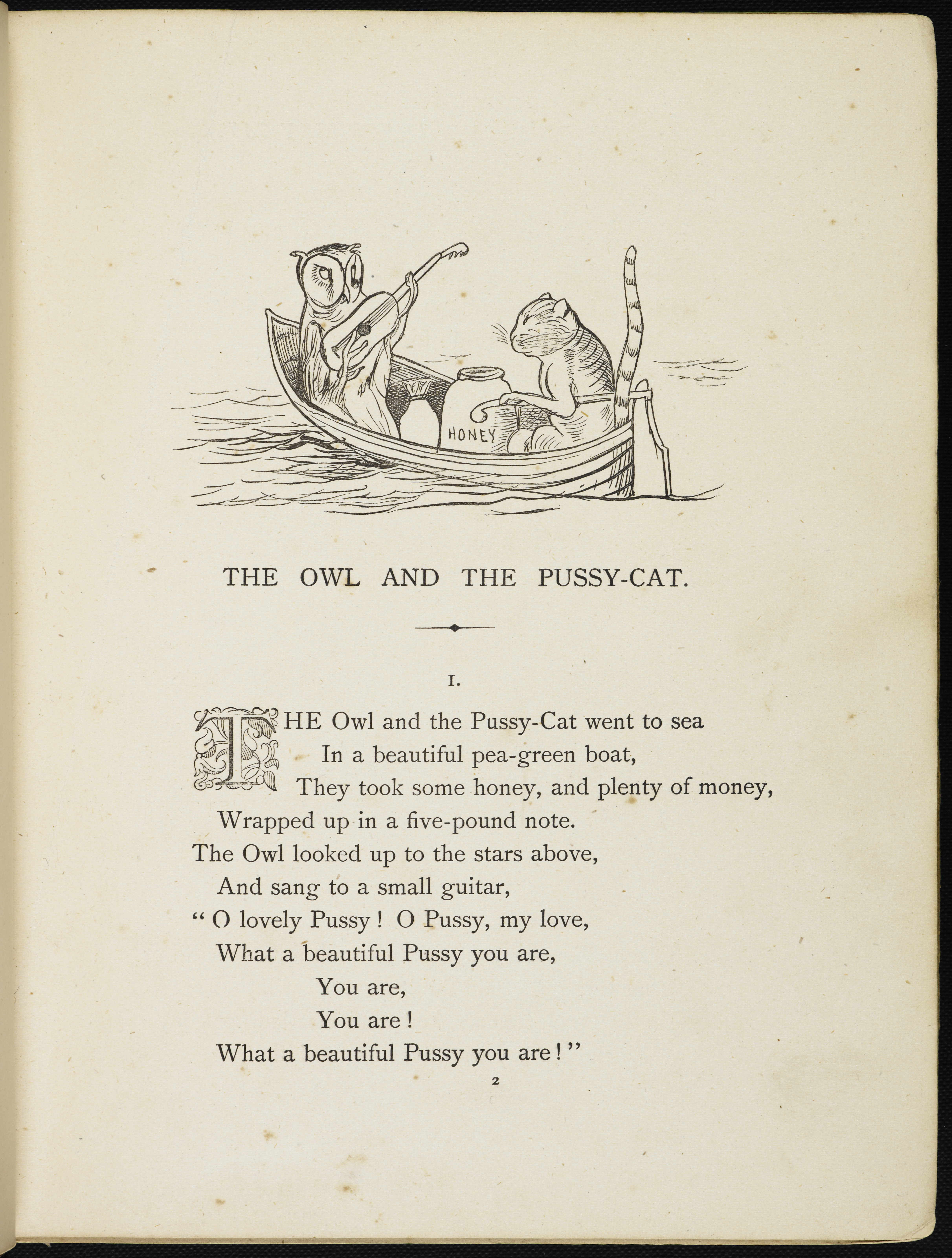 Illustrated page with the first part of the song, and an illustration of an owl and a pussycat in a boat.