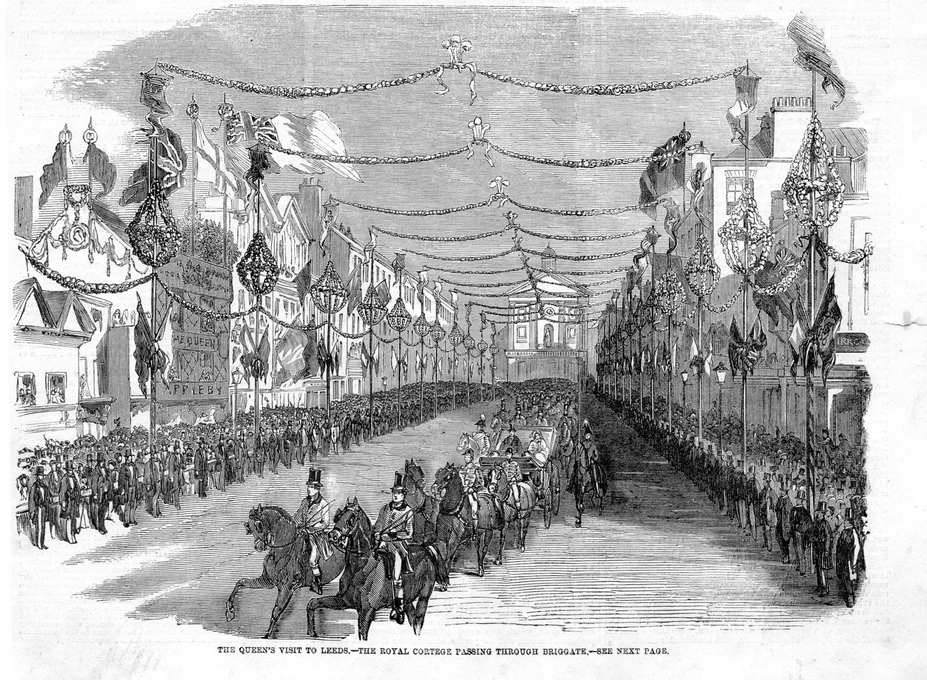 Illustration showing buildings on either side of a wide street which is festooned with bunting.  Down the centre of the street is a parade of horses with a carriage with Queen Victoria in it.