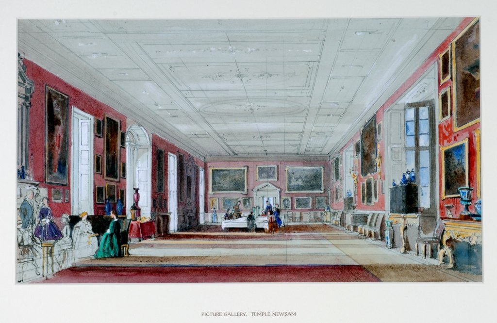 Painting of the picture gallery showing a long room with paintings on either side. The wallpaper is red (it is now green) and there are people sitting in chairs on one side.