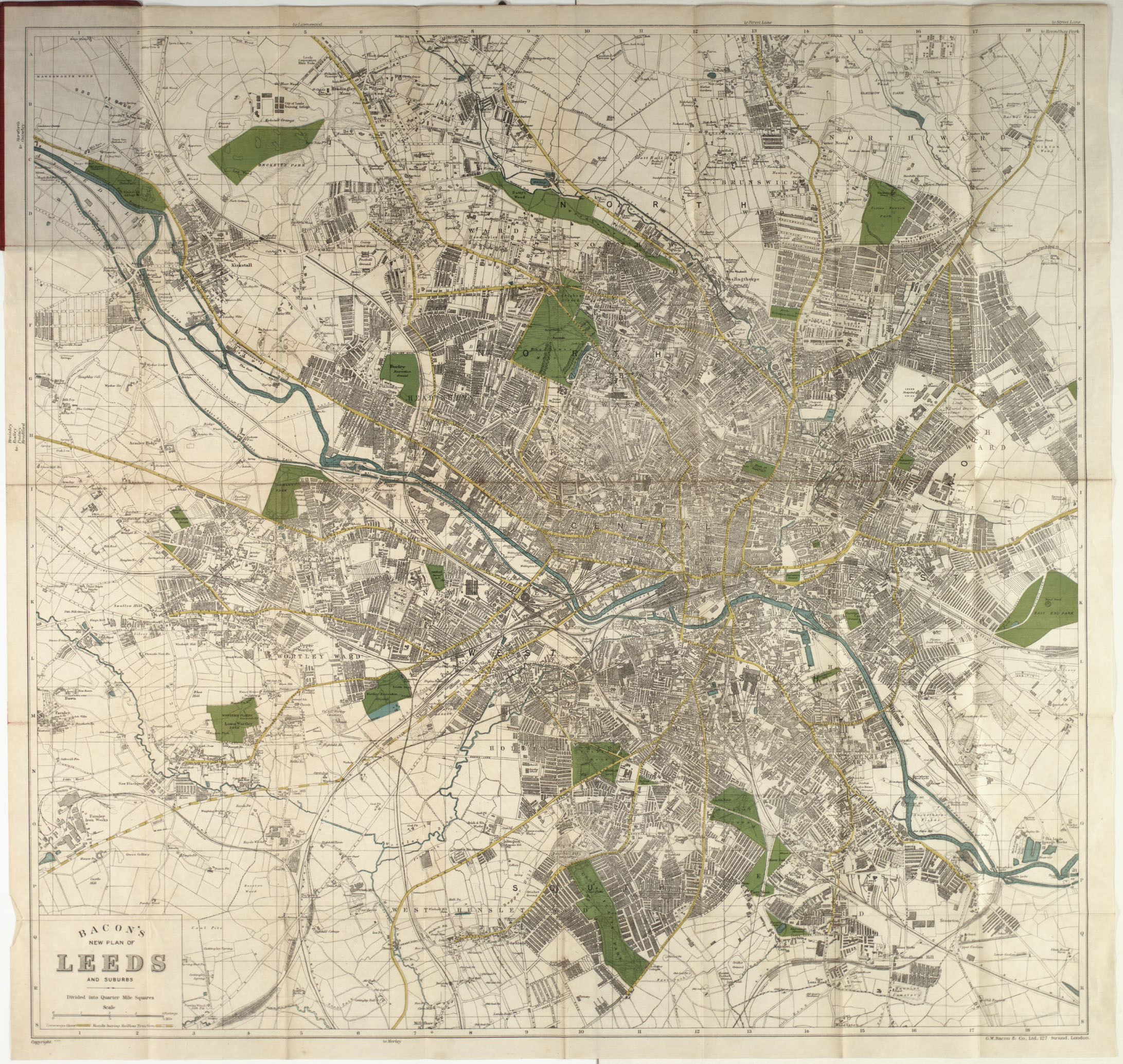 Map showing the city of Leeds, dated between 1910 and 1920.