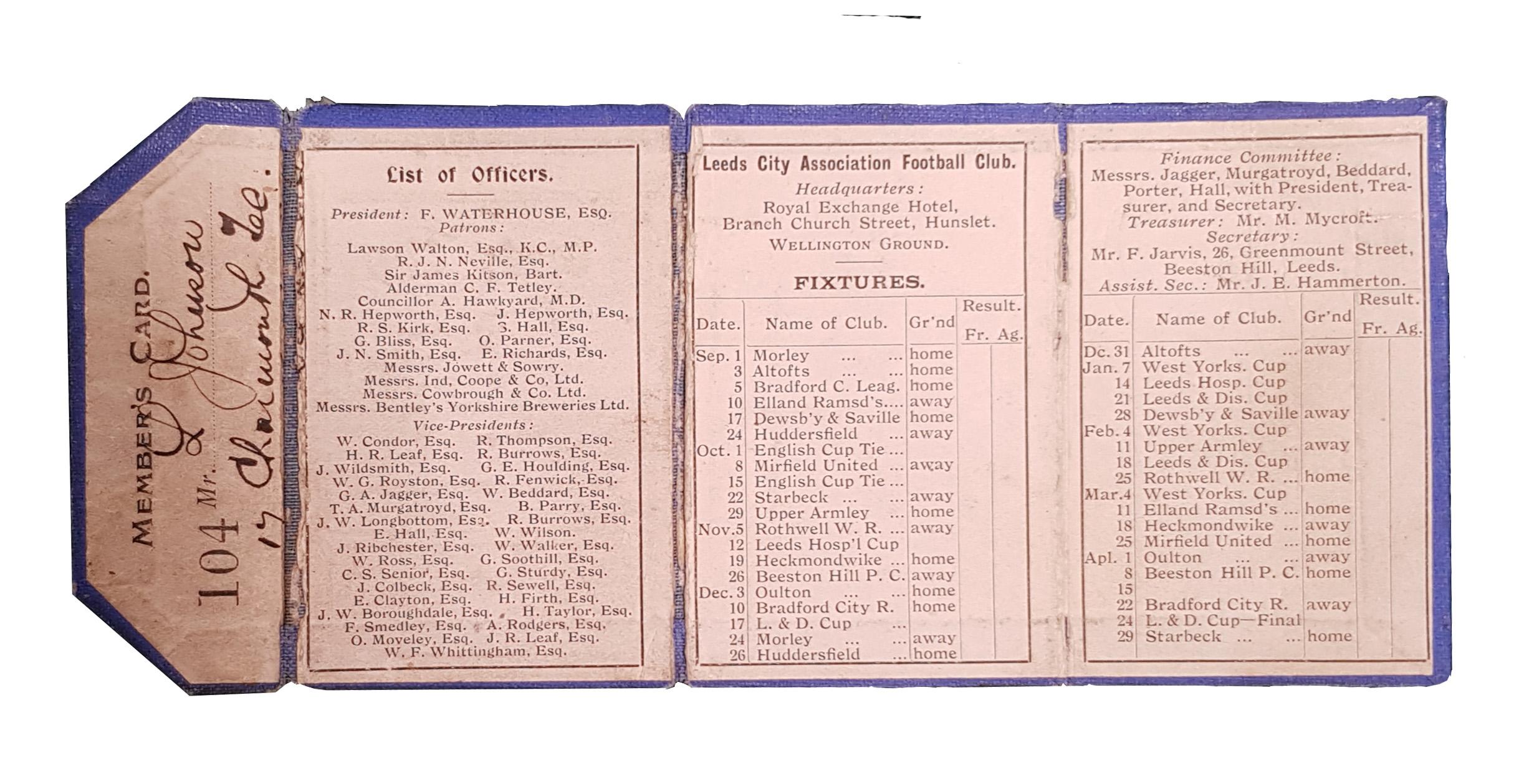 Leeds City Member's Card 1904-05