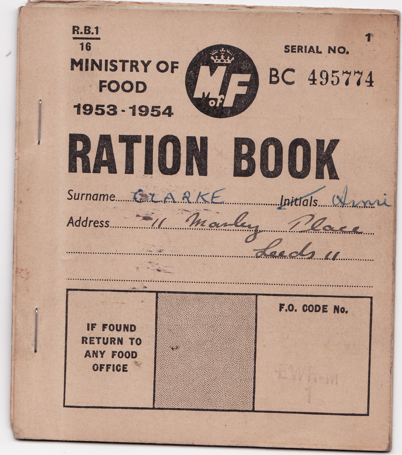 Ration Book 1950s