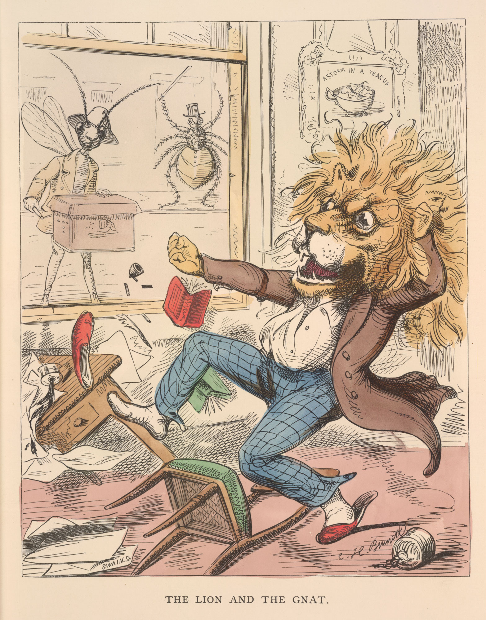 A printed page from a book, showing an image of a man with a lion's head kicking over a table and chair.