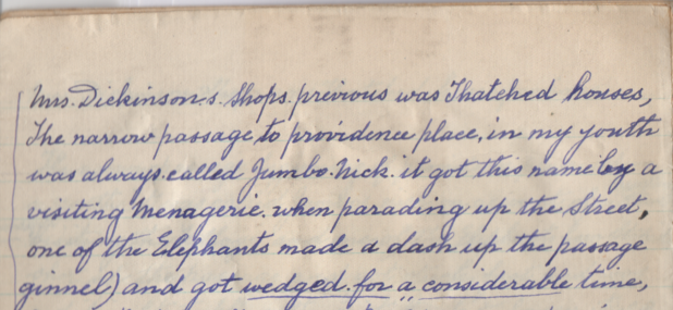 Handwritten entry on a lined notebook