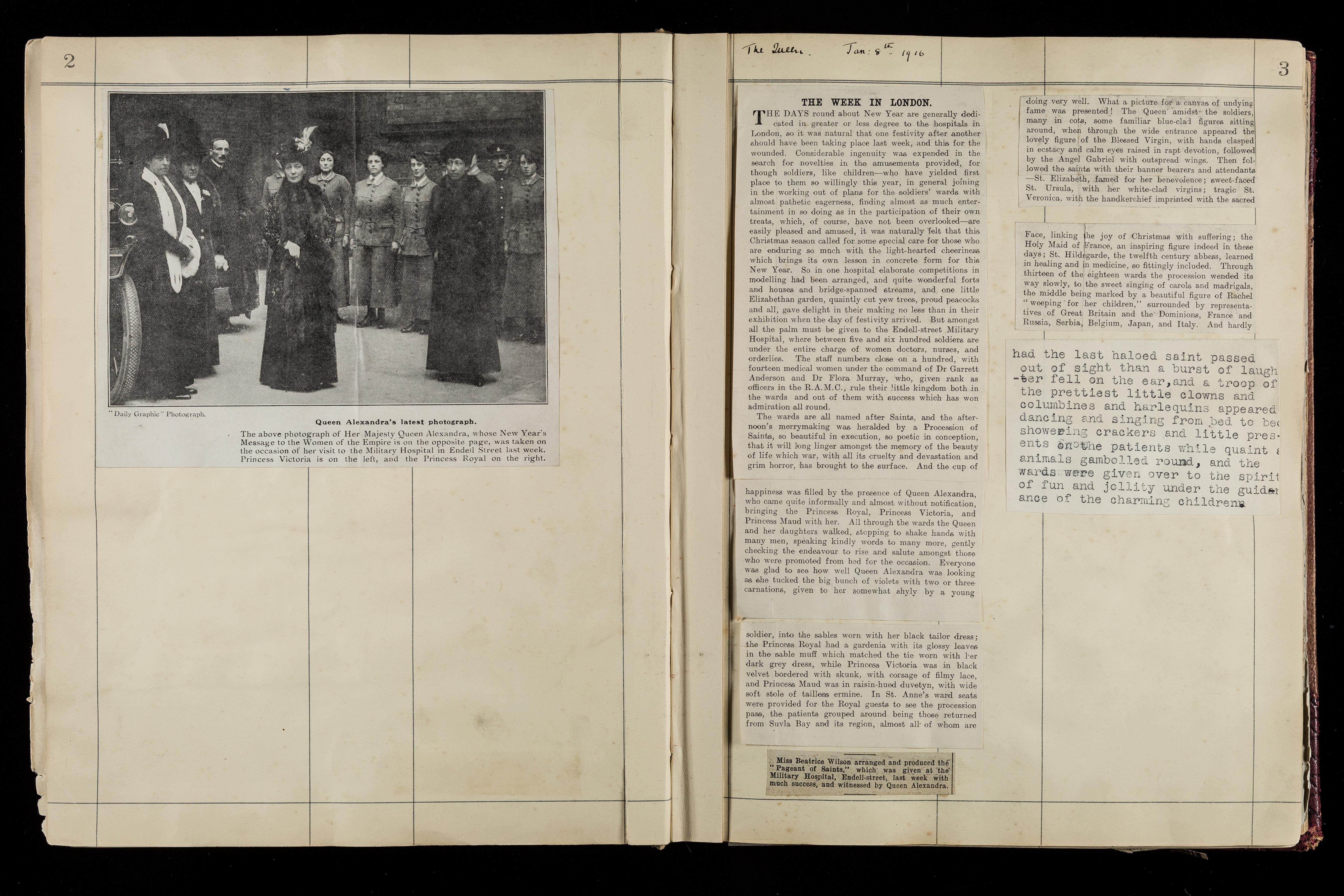 Page from Endell Street Scrapbook showing a newspaper clipping of the visit of Queen Alexandra and her daughter to the hospital in 1916