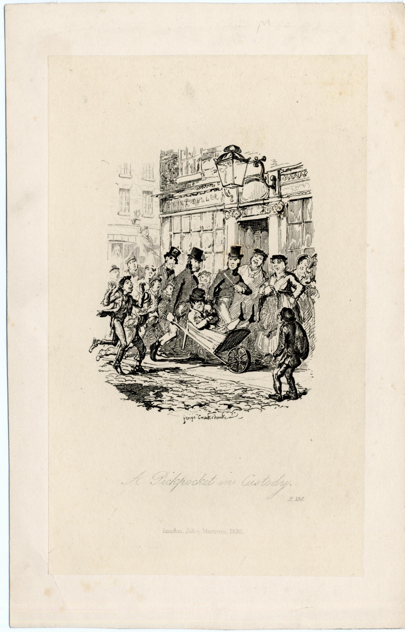 'A Pickpocket in Custody' engraving by George Cruickshank 1836