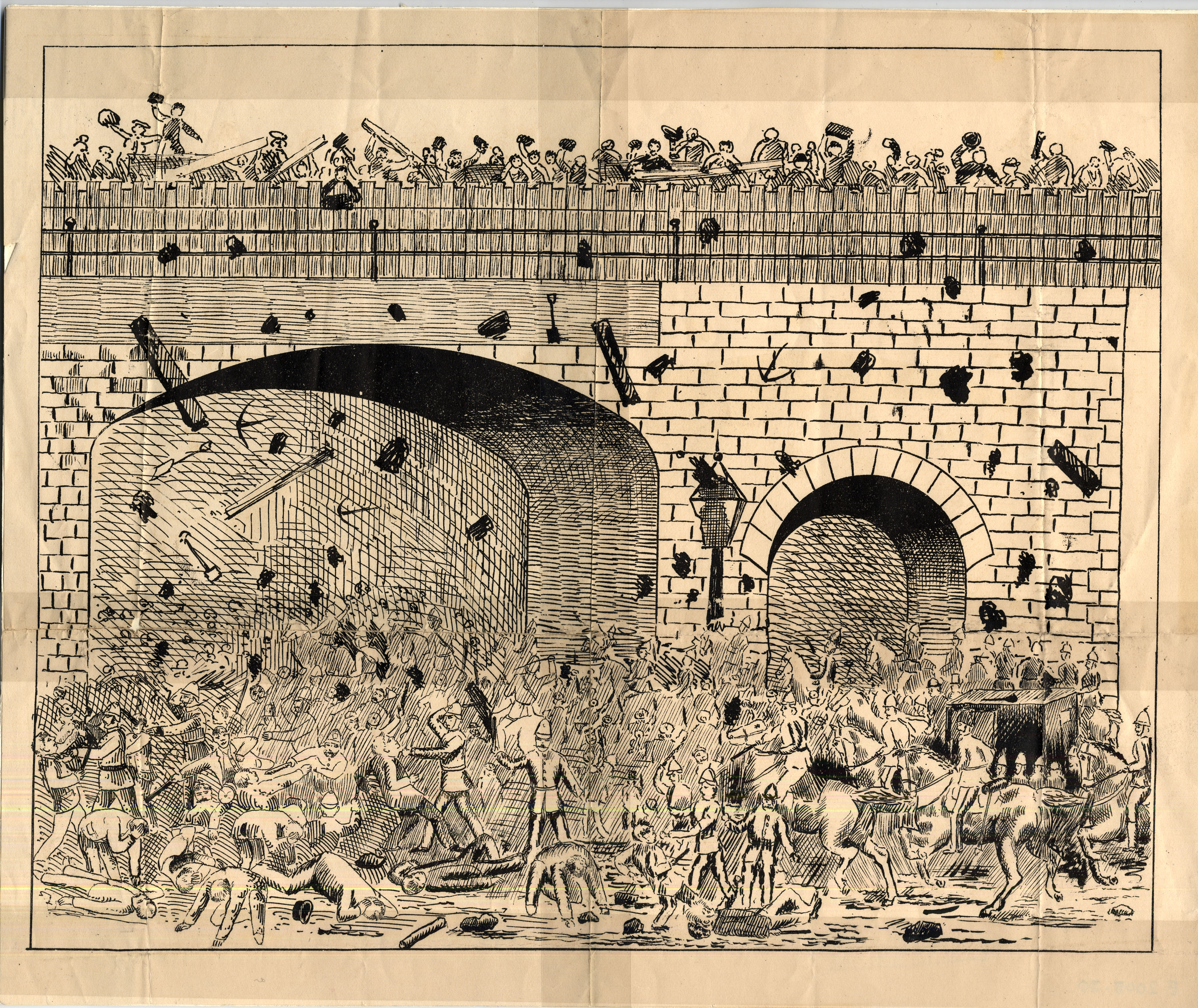 Black and white drawing showing a railway bridg with crowds of people both on the bridge and underneath it.  A range of debris is being thrown around and falling from the bridge, such as rocks, tools and railsay sleepers.