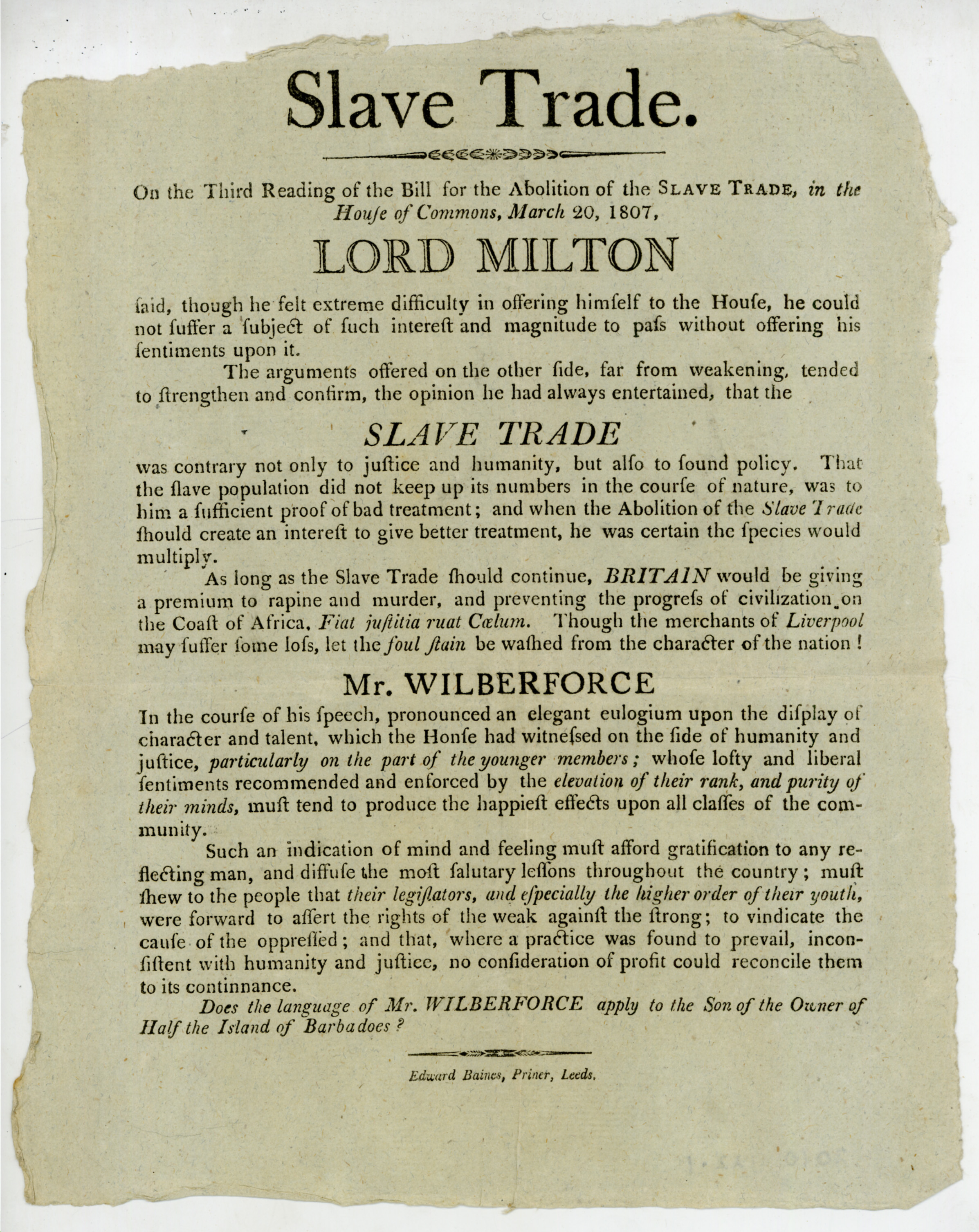 Printed paper with comments from Lord Milton and William Wilberforce on the third reading of the bill for the abolition of the slave trade.
